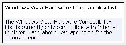 Windows Quality Online Services  Windows Vista Hardware Compatibility List